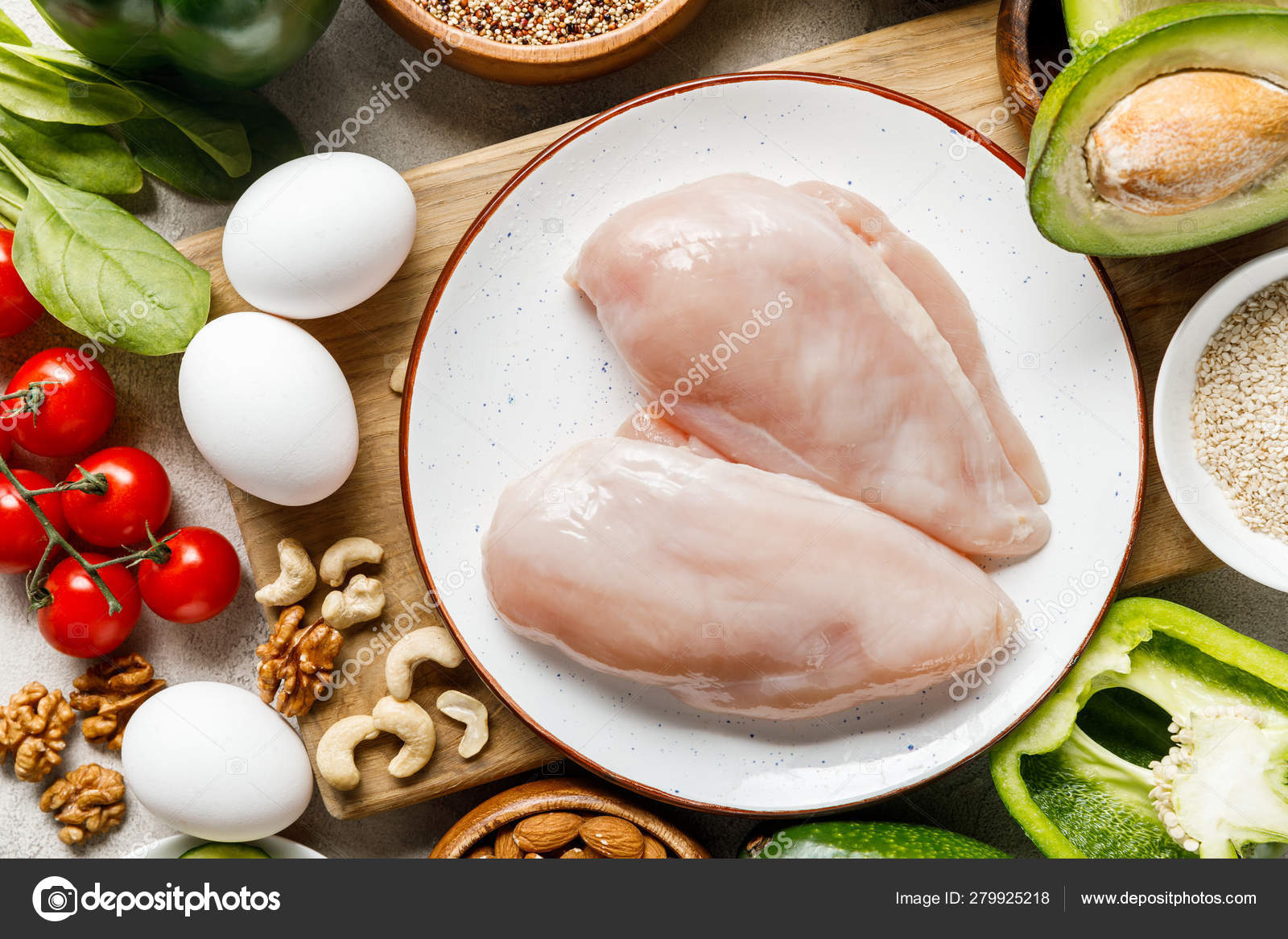 Fresh raw chicken & eggs